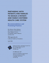 Partnering with Patients and Families to Design a Patient and Family Centred Health Care System
